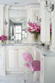 bathroom with a splash of pink