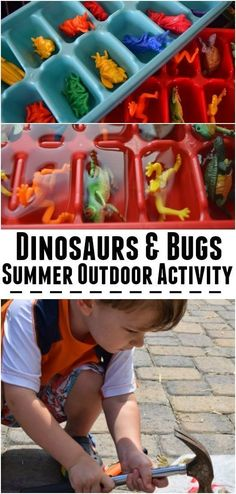 Dinosaurs and Bugs - perfect Summer outdoor activity for kids and preschoolers outdoor fun Hammers and ice blocks - summer activity for kids - Beauty through imperfection Outdoor Activities For Kids, Sensory Activities, Infant Activities, Learning Activities, Crafts For Kids, Outdoor Games, Summer Crafts, Family Activities, Outdoor Activities For Toddlers