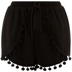 Cameo Rose Black Pom Pom Trim Shorts (£15) ❤ liked on Polyvore Pom Pom Shorts, Mini Shorts, Summer Shorts, Black Shorts, Short Outfits, Cute Outfits, Lace Trim Shorts, Pom Pom Trim, Fashion Outfits