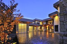Modern Garage Doors contemporary garage and shed Custom Home Builders, Custom Homes, Modern Garage Doors, Luxury Real Estate, My House, Home Goods, Shed, Mansions, House Styles