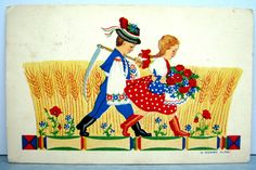 1930s H. Morvay Klári POSTCARD Hungarian folk couple wheat poppies