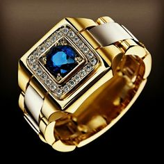 Huitan Party Men Rings Creative Watch Shaped Two Tone Design Wholesale Blue Stone Setting Rings With Size Male Jewelry Blue Sapphire Rings, White Sapphire, Natural Sapphire, Blue Topaz, Gold Plated Rings, Wedding Men, Gold Wedding, Wedding Jewelry, Wedding Bands