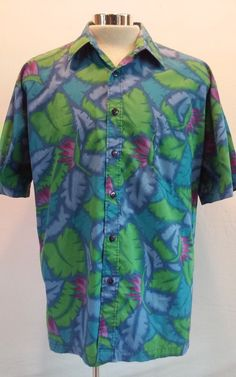Tori Richard Multi-color Blues Men's Hawaiian Casual Shirt Size L Made in Hawaii #ToriRichard #Hawaiian