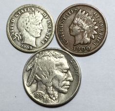 Coin lot w/ Barber dime, Indian Head penny w/ full LIBERTY and a Buffalo nickel.