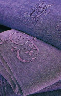 French embroidered linen. | Purple passion | More purple lusciousness here: http://mylusciouslife.com/purple-passion/