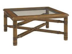 Shop for Tommy Bahama Home Capri Square Cocktail Table, 593-947, and other Living Room Tables at Hickory Furniture Mart in Hickory, NC. A wood framed tempered glass top compliments its leather wrapped reeded legs.  Decorative rattan stretchers complete the sophisticated look.