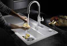 Discover the the new granite sink that facilitates steam cooking in private domestic kitchen. Blanco Sinks, Steamer, Kitchen Sink, Cooking Time, Granite Sinks, Range, Bathroom, Washroom, Cookers