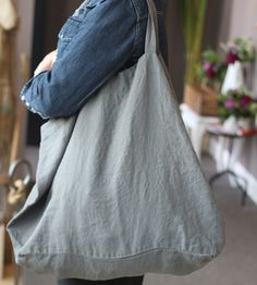 Attractive large linen tote bag