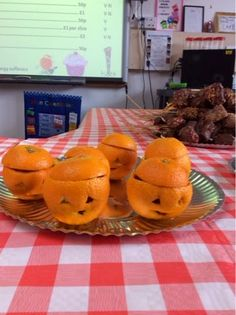 Orange 'pumpkins' at our class café!  Filled with fruit salad. http://stgeorgesclass.blogspot.co.uk/
