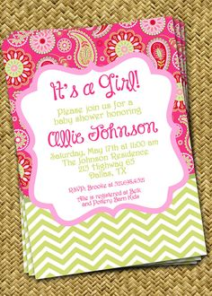 7 best invitations images on pinterest baby girl shower baby pretty paisley a customizable shower invitation pinka and green chevron and paisley filmwisefo