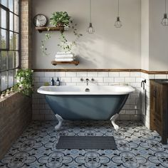 The Bath Co. Dalston province blue back to wall freestanding bath with white ball and claw feet The Bath Co. Dalston province blue back to wall freestanding bath with white ball and claw feet Small Freestanding Bath, Small Tub, Small Bathroom With Tub, Small Baths, Small Space, Clawfoot Tub Bathroom, Downstairs Bathroom, Bathtubs For Small Bathrooms, Concrete Bathroom