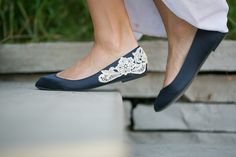 Wedding Shoes  Navy Blue Wedding Flats with Ivory by walkinonair, $61.00