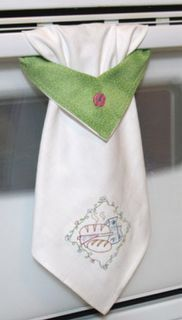 "Kitchen towel. Cute! What you need: Dish towel Coordinating fabric scrap 8 1/2"" x 5"" Small scrap of interfacing 8 1/2"" x 2 /12"" Thread Scissors Chalk"