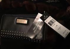 BCBG Paris Women's Black Zippered Gold Studded Wallet Great Christmas Gift | eBay
