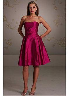 Buy discount Elegant Taffeta A-line Strapless Knee Length Bridesmaids Dress With Handmade Flower at Dressilyme.com