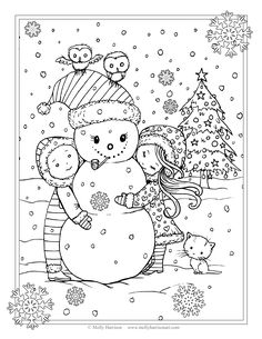 Free Christmas Coloring Page Cute Snowman With Children Owls And A Kitty By Molly