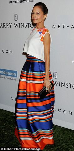 Color blocking: Also at the Book Bindery was Nicole Richie looking elegant as usual in a sleeveless cropped top and striped maxi skirt