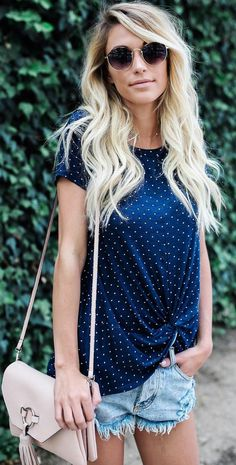 #summer #outfits  Navy Dotted Tee + Denim Short