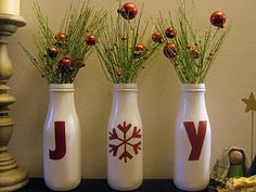 Old starbucks frap bottles. Perfect for a mantle or window sill….SO CUTE