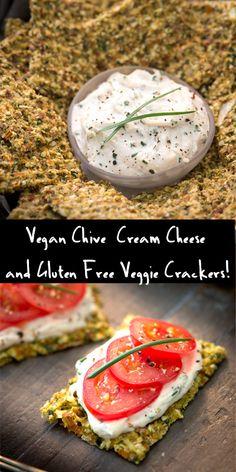 """Raw, Vegan Gluten Free Veggie Crackers with Chive """"Cream Cheese"""" Recipe! @Rawmazing.com"""