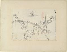 Paul Klee. Houses Drawn by Oxen, Ox Speared by a Lantern, Overpass (Häuser von Ochsen gezogen, Ochse laternengespiesst, Strassenüberführung). 1916