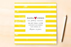 yellow-striped wedding invitation.
