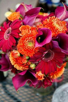 Wedding Bouquet Showcasing: Orange Chrysanthemums, Orange Spray Roses, Hot Pink Gerbera Daisies, Fuchsia Calla Lilies ××××
