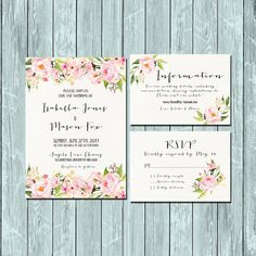Invitation kit Wedding Invitation Floral pink and green watercolor invitations…
