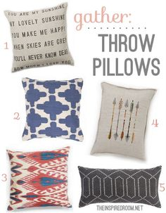 Cute modern throw pillows! Click over for the sources, listed in the post.