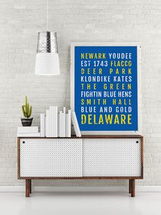 University of Delaware Blue Hens Print - Subway Poster, Boyfriend Gift, Fathers Day Gift, Wall Art, Bus Scroll, Word Art, Typography