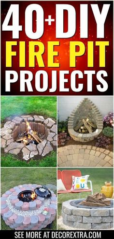 DIY Fire Pits: DIY Outdoor Fire Pit Ideas, DIY Fireplaces, Backyard Pits Fire pits are a great addition to your garden. Take a look at these amazing DIY fire pit ideas! Fire Pit Ring, Diy Fire Pit, Fire Pit Backyard, Backyard Bbq, Backyard Landscaping, Backyard Seating, Wedding Backyard, Pallet Fire Pit, Corner Landscaping