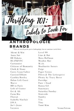 Thrifting Brands - Newman's Nest Thrifting Anthropologie Brands to look for on second hand sites or in thrift stores