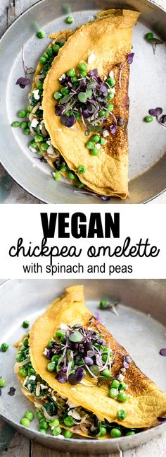 You won't believe how easy it is to make this chickpea omelette with spinach and spring peas! This vegan and gluten-free breakfast is made from chickpea flour for a healthy breakfast!