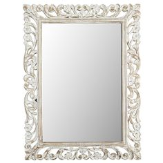 White Floral Carved Wood Frame Mirror | Pier 1 Imports