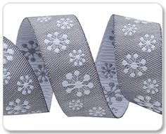 Grey White Snowflakes Ribbon - Sue Spargo