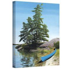 ArtWall Ken Kirsch Canoe on Georgian Bay Wrapped Canvas, Size: 18 x 24, Green