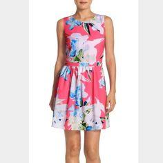 7bf4e6968bd50 Cece Empire Pink Summer Tropical Flower Dress Cece Dresses