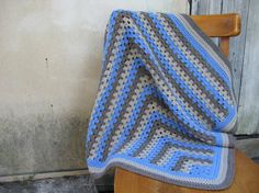 Crochet granny square afghan throw blanket- blue, beige and brown on Etsy, £58.53
