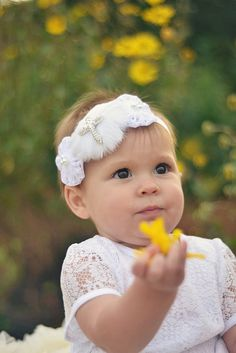 White Feather and Lace Flower Baptism Church or by HannahHeadbands, $13.00 if I ever have a girl good idea :)