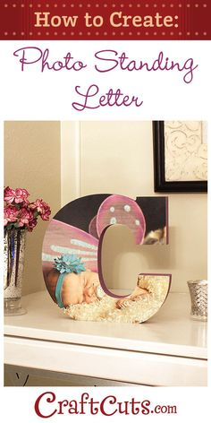 Personalized Photo Standing Wood Letter | CraftCuts.com
