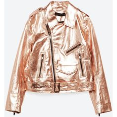 METALLIC LEATHER JACKET - NEW IN-WOMAN | ZARA United Kingdom (€94) via Polyvore featuring outerwear, jackets, leather jackets, 100 leather jacket, genuine leather jackets, real leather jackets y metallic jacket
