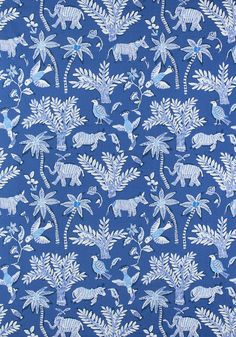 GOA, Blue, Collection Trade Routes from Thibaut Blue And White Fabric, Blue Fabric, Love Wallpaper, Fabric Wallpaper, Wallpaper Ideas, Amsterdam Wallpaper, Fabric Design, Print Design, Guest Room Office