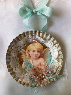 Handgemachte Christbaumkugel Angel Viktorianisch verändert