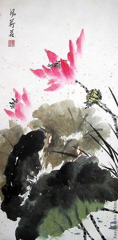 Купить Лотос на ветру - елена касьяненко, китайская живопись, лотосы, гохуа, картина с цветами