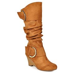 Women's Journee Collection Wide Calf Buckle Slouch Wedge Knee-High Boots - Dark Chestnut 7W, Size: 7 Wide Calf