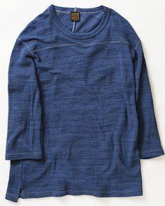 A Vontade - Speck Dyed Football T-Shirt (Blue Indigo)