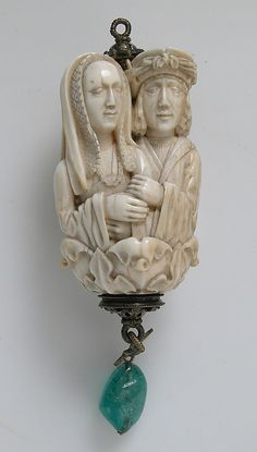 Rosary Terminal Bead with Lovers and Death's Head. c. 1500-1525. North French or South Netherlandish. Ivory with emerald pendant, silver-gilt mount. New York: Metropolitan Museum of Art.