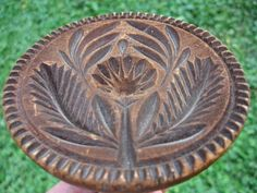 19thC Antique Wooden Butter Stamp Mold Thistle/star Lollipop Flower Hand Carved