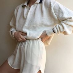 Vintage incredible waffled cotton pullover with navy details. Absolute favorite find and fit. Mode Outfits, Fashion Outfits, Womens Fashion, Fashion Trends, Mode Pastel, Summer Outfits, Casual Outfits, Beige Outfit, Looks Plus Size