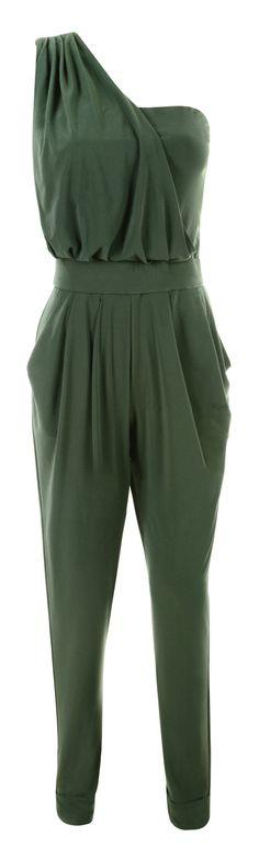 Clothing : Jumpsuits : 'Sorrel' Khaki Silky Jersey One Shoulder Drape Jumpsuit